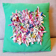 Proddy rag rug cushion made from socks _