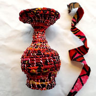 Coiled vase - clothes line and fabric sc
