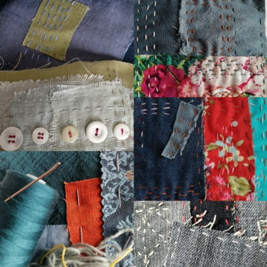 Why not try... fabric collage and mindful stitching?