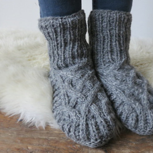 Knit Slipper Socks (Light Grey) [Aura Que]