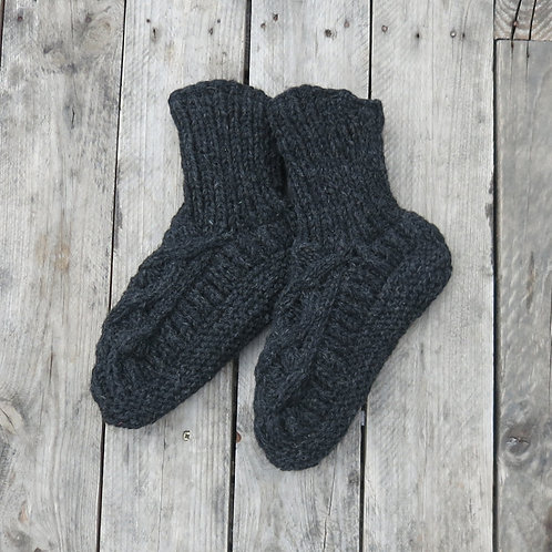 Knit Slipper Socks (Dark Grey) [Aura Que]