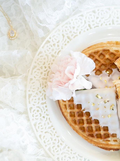Chocolate dipped waffle quarters