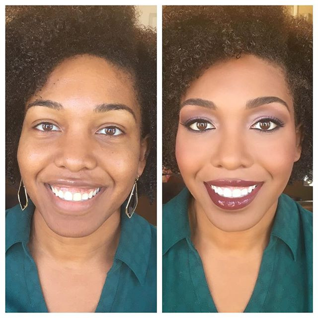 My client _deltagurl15 couldn't be prettier!!! #beforeandafter #indymakeupartist #slaybyrenee #indystyle #indymua #indianapolis #indywedding