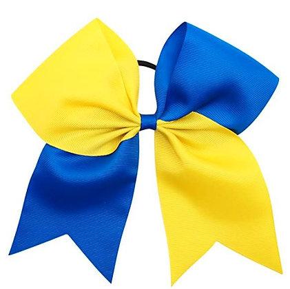 "8"" Blue & Yellow Hair Bow (Elastic Band Ponytail Holder)"