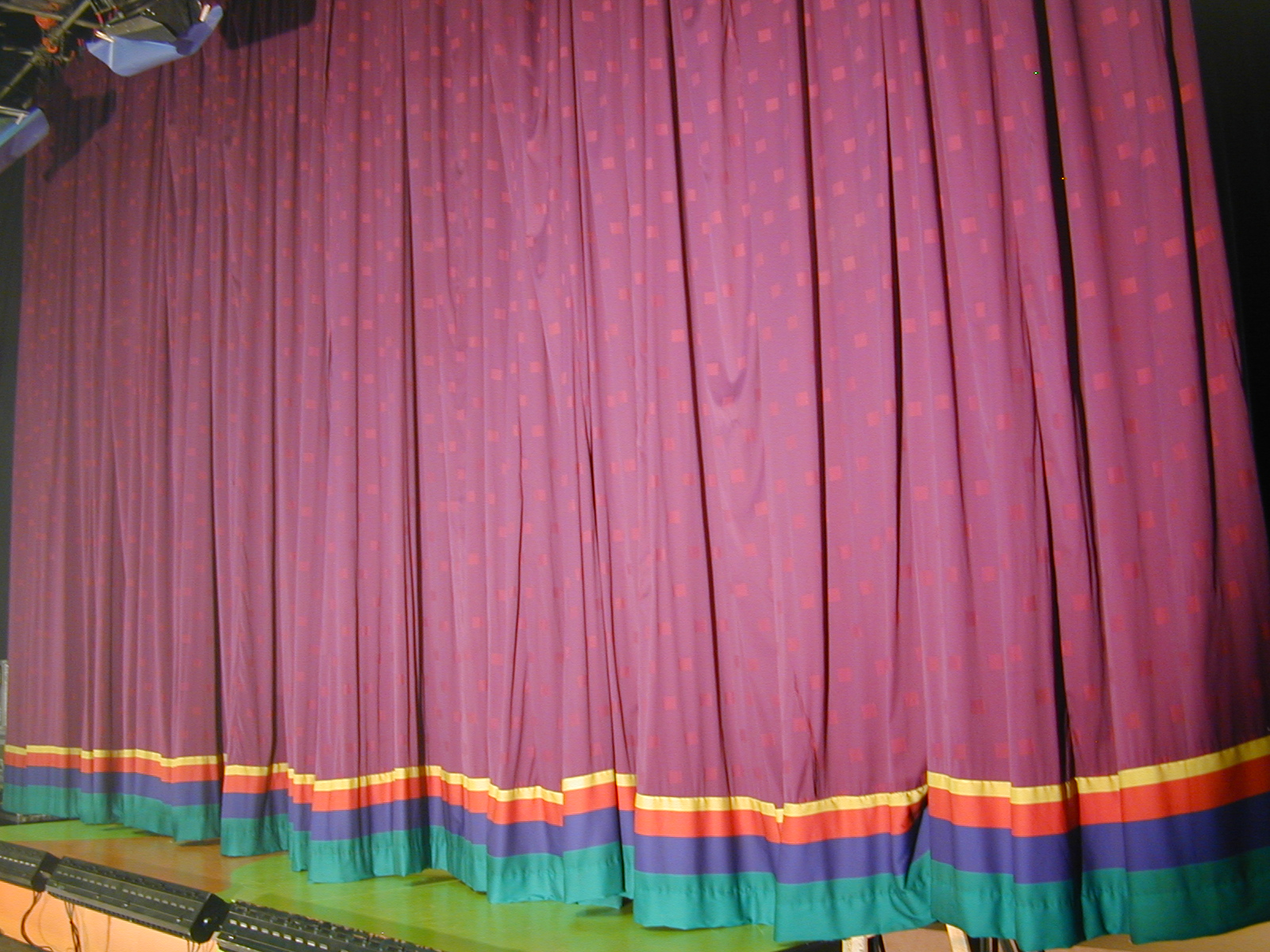 lavender patterned curtain 2 at 25'h x 24'w but 17' wide if hanging with folds.J