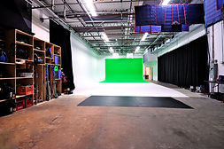 Pie in the Sky Studios. Film studio in Toronto. Green Screen and Gear Rental, Lighting Package, Large set build, Production Space Client Area Sound Stage Green Screen