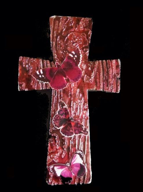 Maroon Butterfly Cross