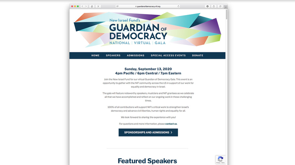 Event web page with branded banner graphic