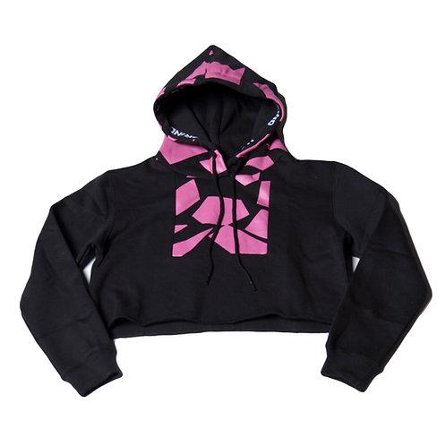Womens HG Signature Crop Hoodie - Black/Hyper Pink