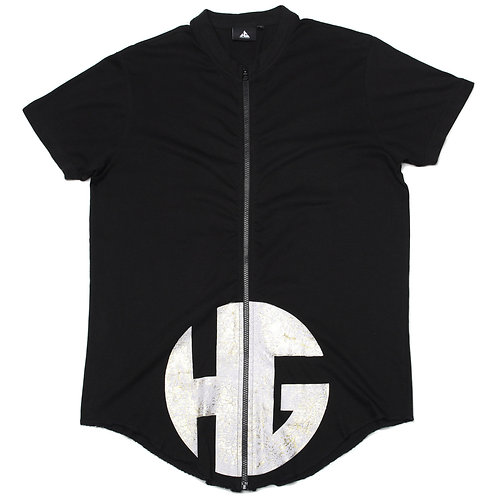 HG Zip Down T Shirt - Black/White/Gold (1of 1 Sample)