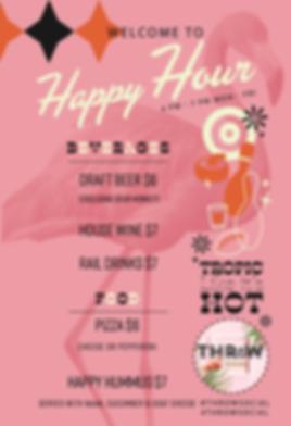 Throw Social Happy Hour menu