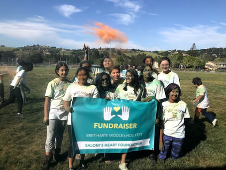 Saloni's friends organized a Holi (Festival of Colors) fund raiser at Bret Harte Middle School