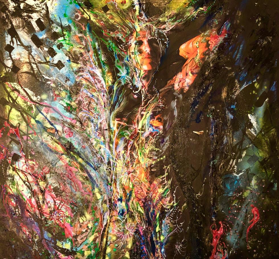 Reine de la forêt - AlJane ateliers du sud - techniques mixtes sur toile, photo-corps, matières et acryliques, 50x50 cm