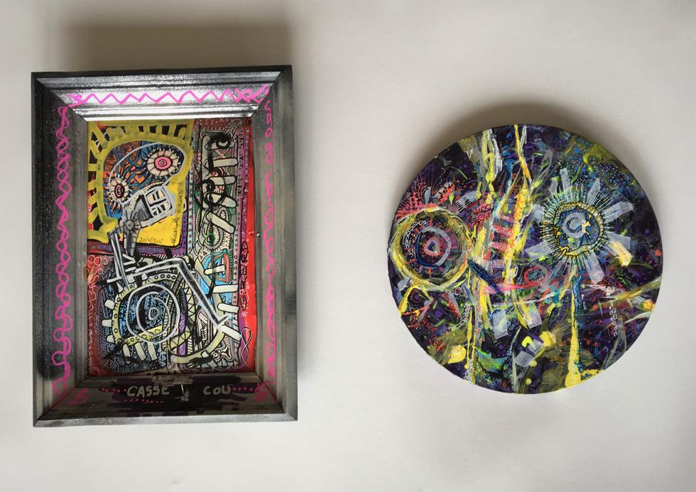 A gauche, Toile oeuvre de C. Girerd, art singulier; à droite, Oeuvre en collaboration C. Girerd et AlJane 2018