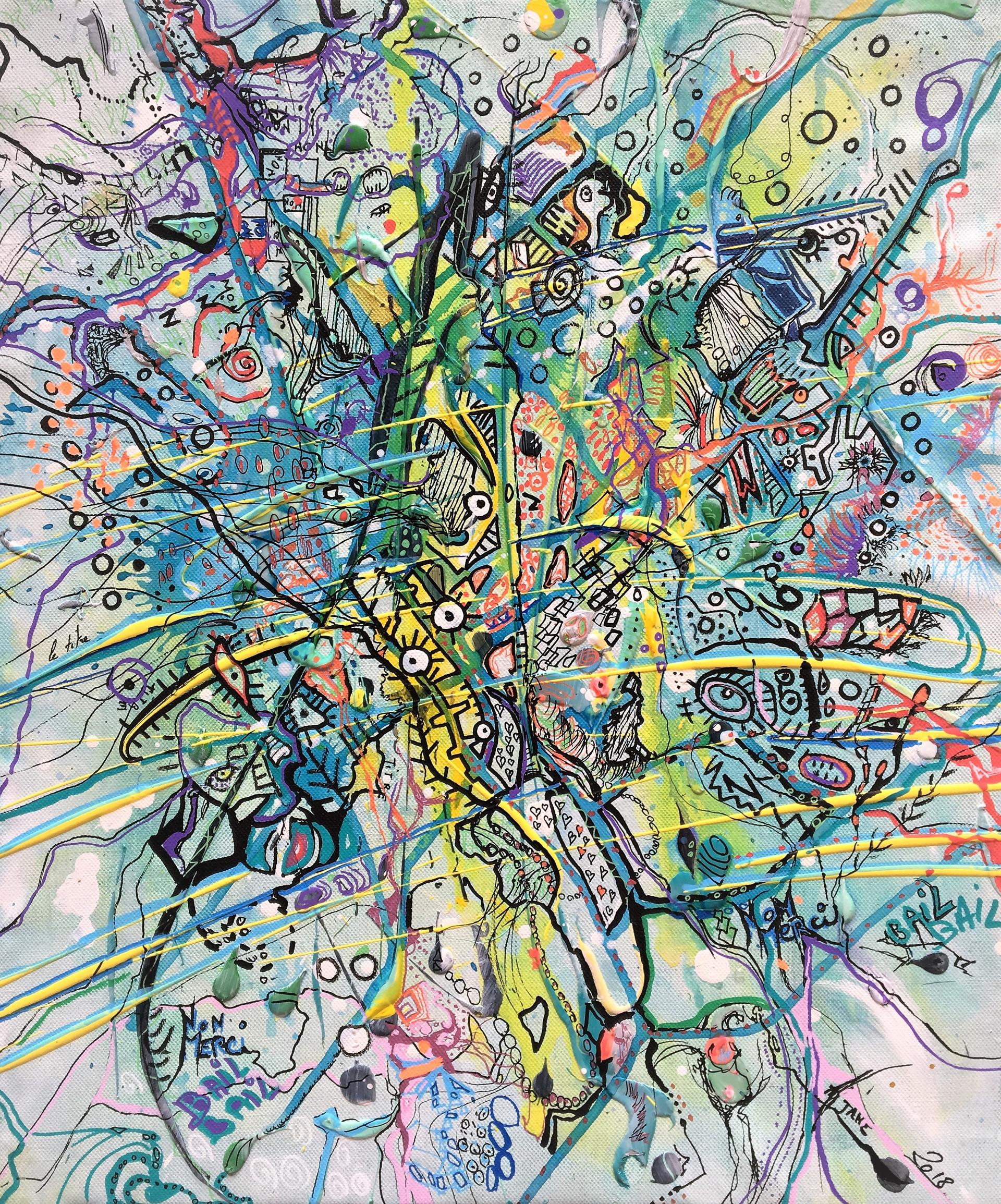 Sans Titre, réalisation en duo, GIRERD / AlJane 2018, acrylique sur toile, 55x46 cm