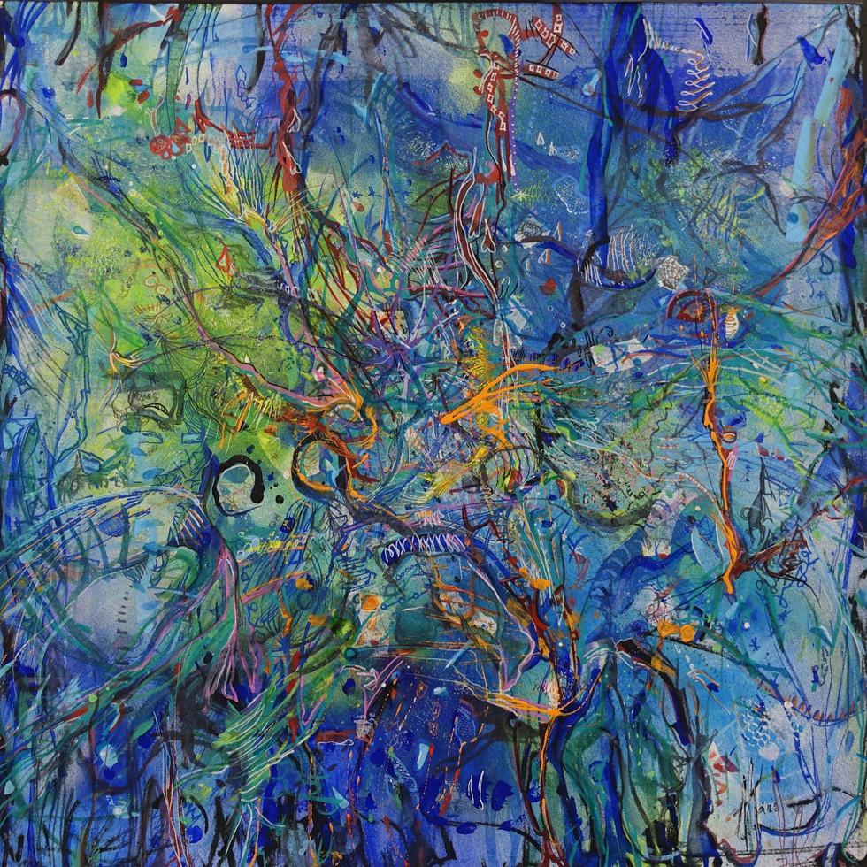 Oranges dans paysages bleus  - techniques mixtes sur papier aquarelle 50x50cm - Ateliers du Sud 2019