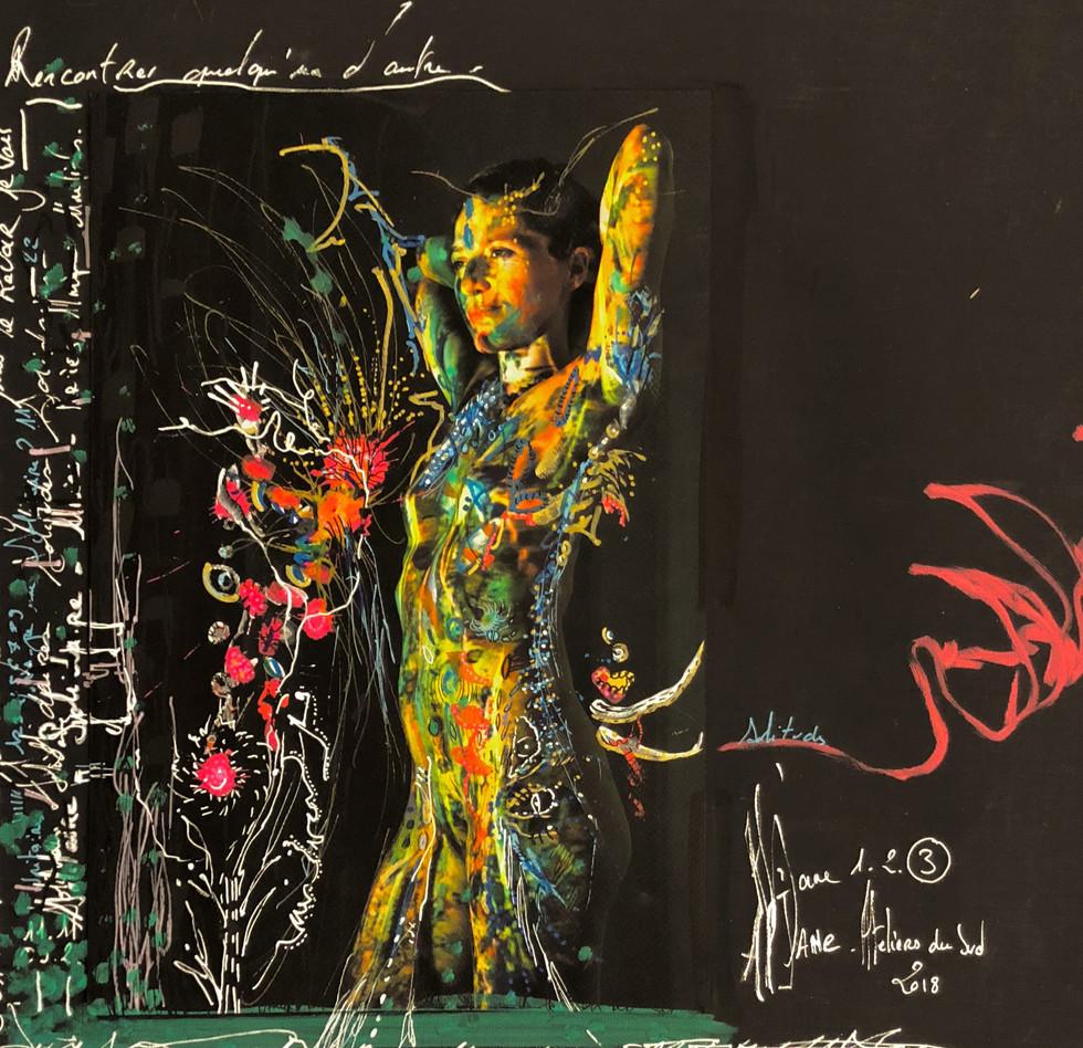 """""""Adieu Frida"""", AlJane, atelier du sud - techniques mixtes sur toile et papier, photo-corps et acryliques, 50x50 cm"""