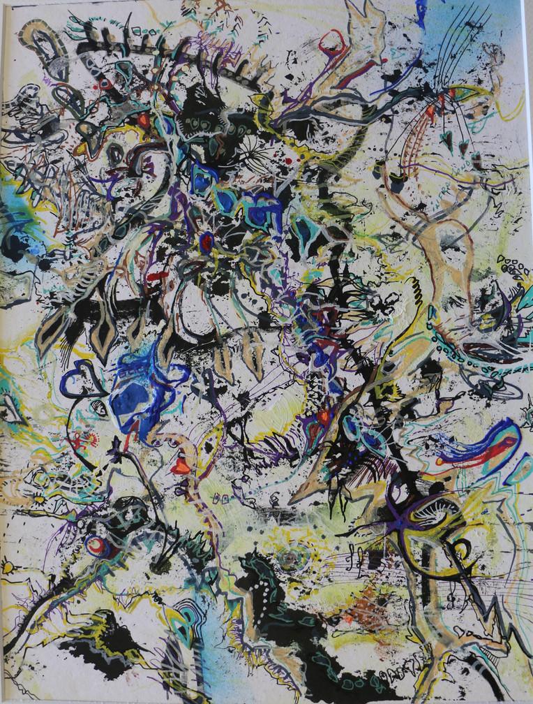 Réflexion - techniques mixtes sur papier aquarelle - 30x40 cm - 2021