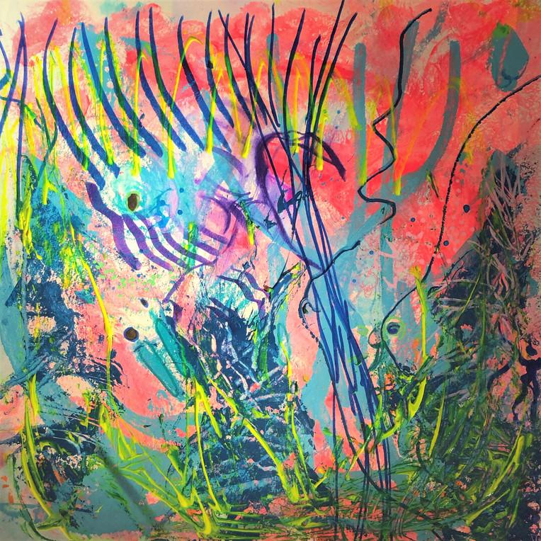 Rose flamant, les chemins d'AlJane, Paris 2018, techniques mixtes sur papier aquarelle 300 gr, 40x40 cm