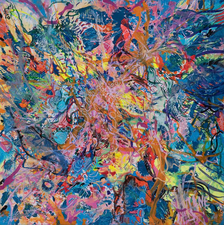 Série Dragons n°1, les chemins d'AlJane, techniques mixtes sur papier aquarelle 300 gr, 40x40 cm
