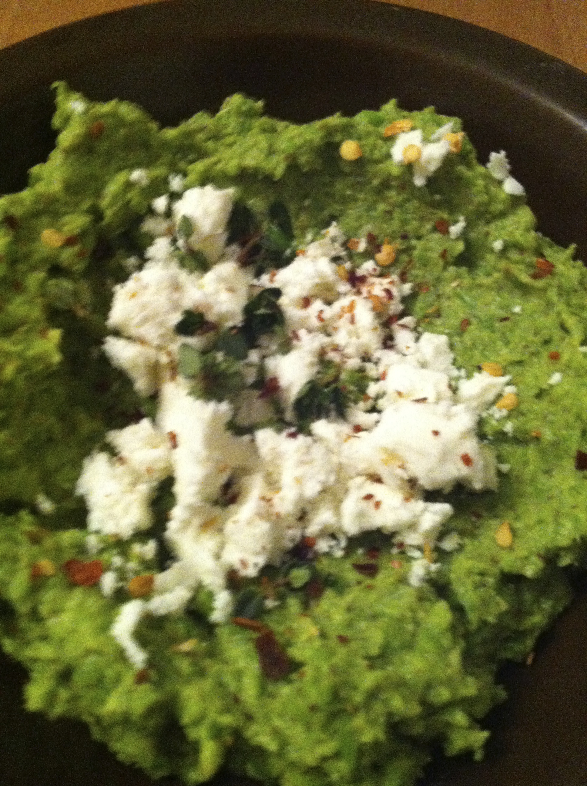 Pea Hummus with Lemon Thyme and Feta