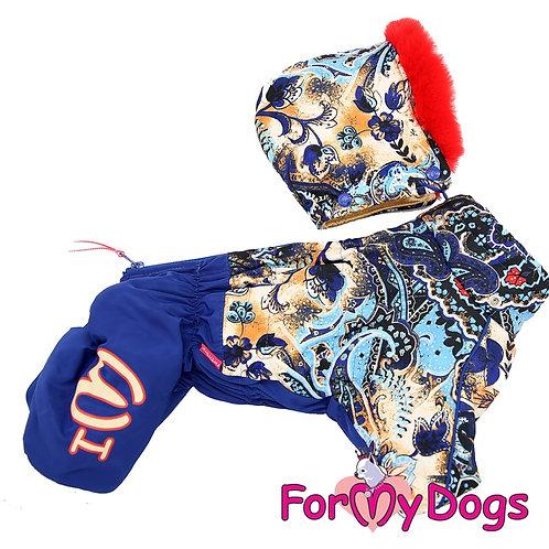 Зимний комбенезон на шелке на собаку среднего размера