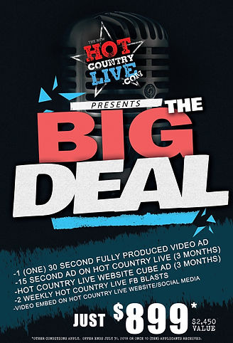 Hot Country Live Big Deal advertising special with radio ad and video production