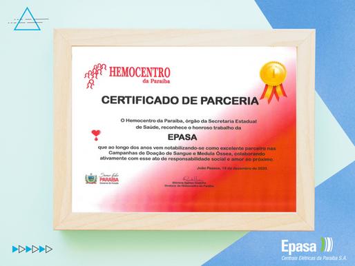 Epasa recebe Certificado de Parceria do Hemocentro da Paraíba