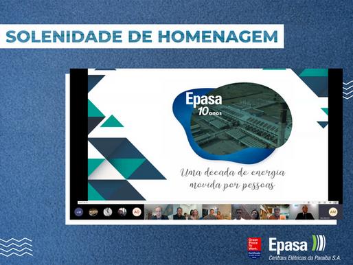 Solenidade Virtual é realizada em homenagem aos colaboradores que completaram 10 de Epasa em 2020