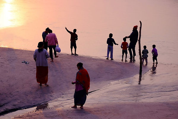 Family at the Beach, Ganges River, Rishi