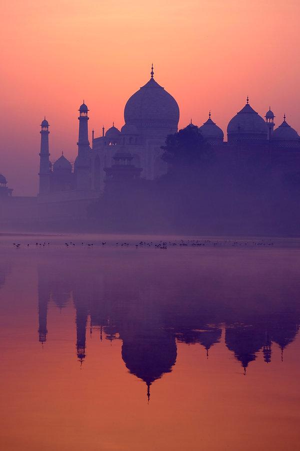 Taj Mahal Reflected in the River at Sunr