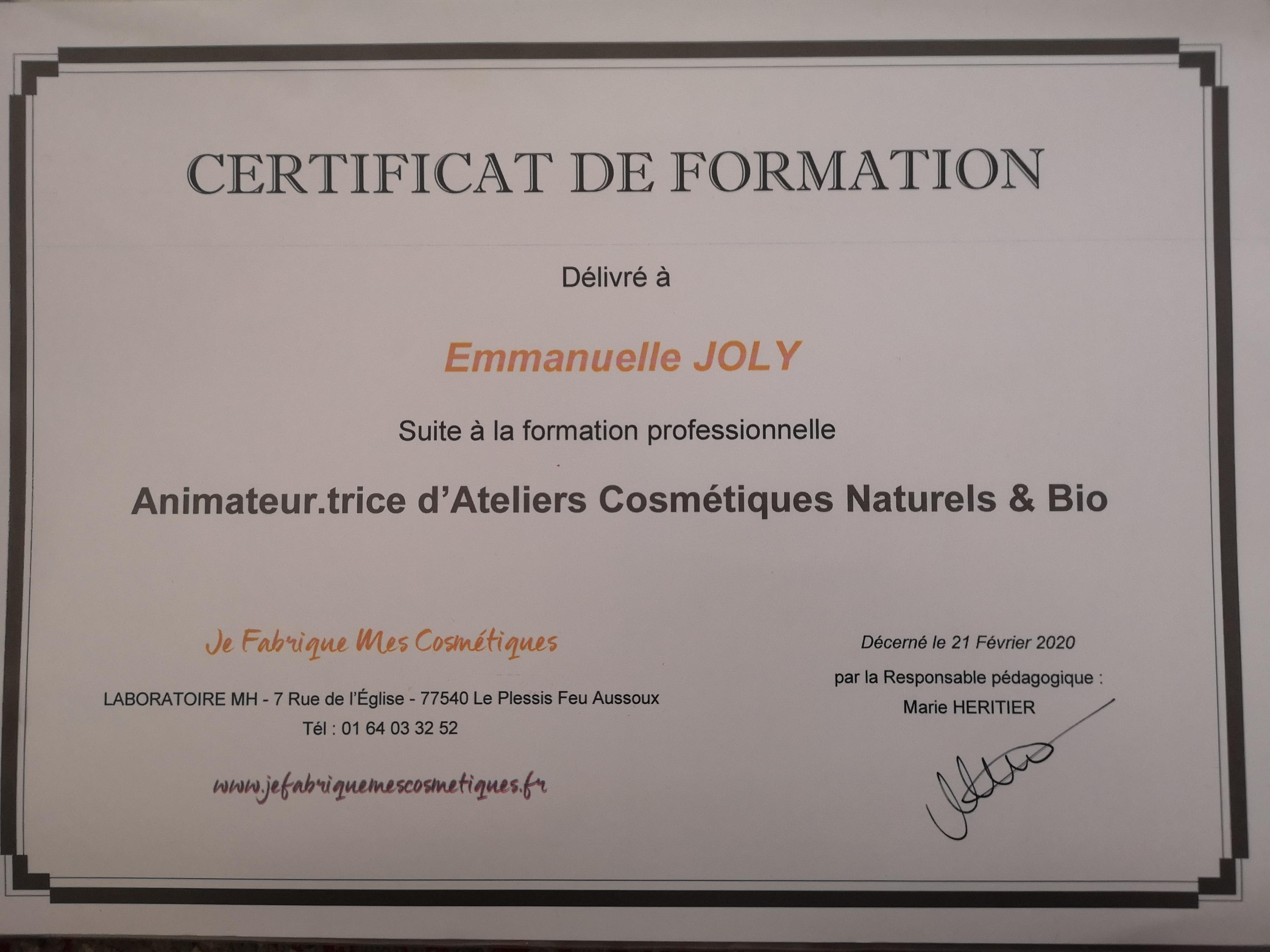 Certificat animatrice