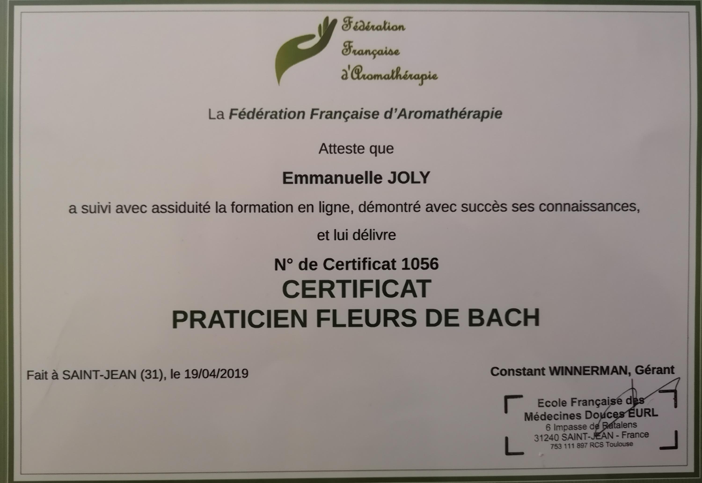 Certificat Fleur de Bach