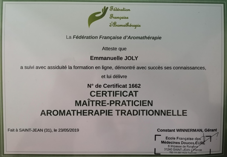 Certificat aromathérapie