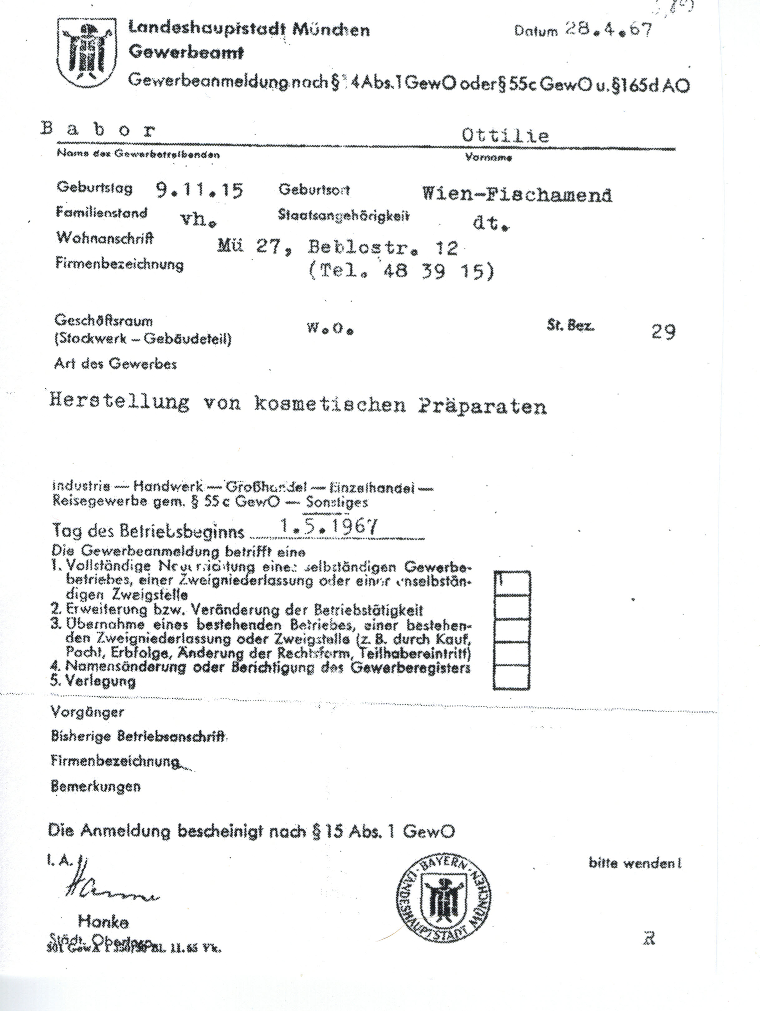 Gewerbeanmeldung 28.April 1967
