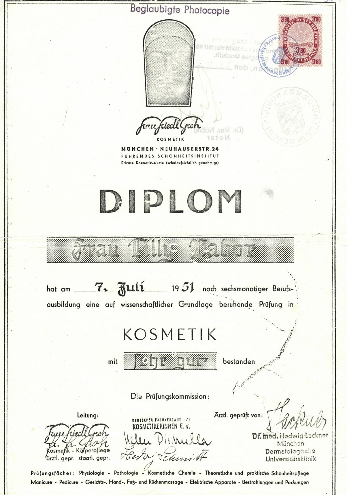 Diplom Tilly Babor 7. Juli 1951