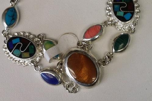 Sterling Silver Bracelet with Genuine Stones : has fastner