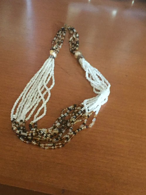 White and Natural Beaded Knecklace