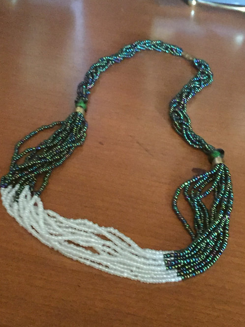 Turquoise and White Bead Necklace