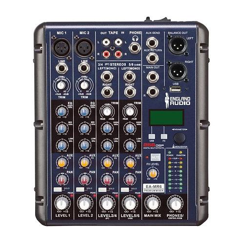 England Audio consola profesional 4 canales 2 mono + 2 estéreos EA-MR6