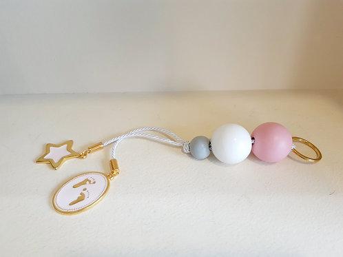 Χειροποίητο Δώρο για Νεογέννητο Ροζ/Λευκό/Γκρι Χάντρες & Πατουσάκια
