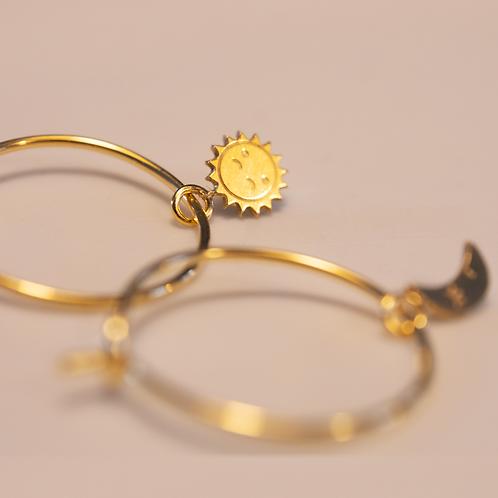 Σκουλαρίκια Ασύμμετρα / Ήλιος & Σελήνη  - Adorabili Paris