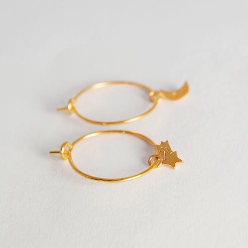 Σκουλαρίκια Ασύμμετρα / Σελήνη & Πεφταστέρι - Adorabili Paris