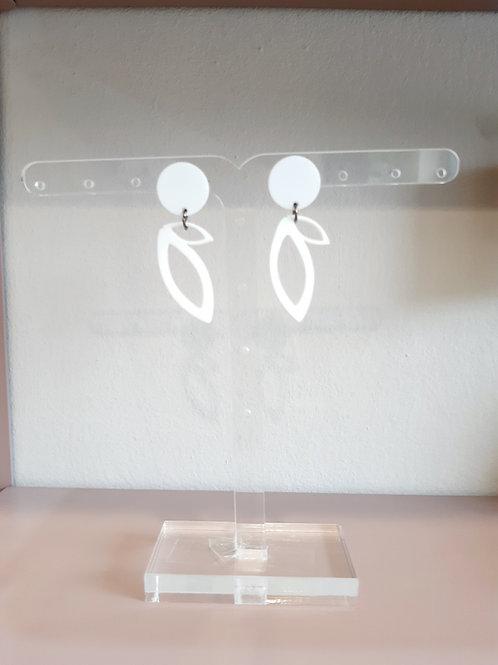 Σκουλαρίκια Κλαδί Ελιάς / Λευκό - Ioannam