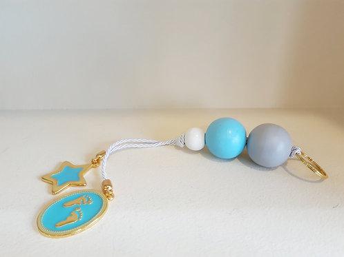 Χειροποίητο Δώρο για Νεογέννητο Μπλε/Λευκό/Γκρι Χάντρες