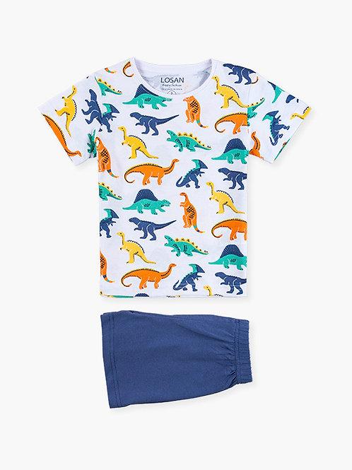 Πυτζάμα Λευκό / Μπλε Δεινόσαυροι - Losan