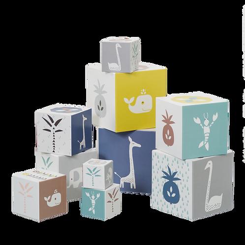 Κύβοι Στοίβαξης με Ζωάκια & Σχέδια Giraffe/Swan Blue - Fresk