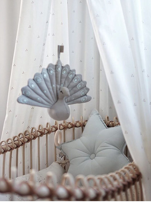 Μουσικό Μόμπιλε Παγώνι Γκρι I Βρεφικό Δωμάτιο Διακόσμηση