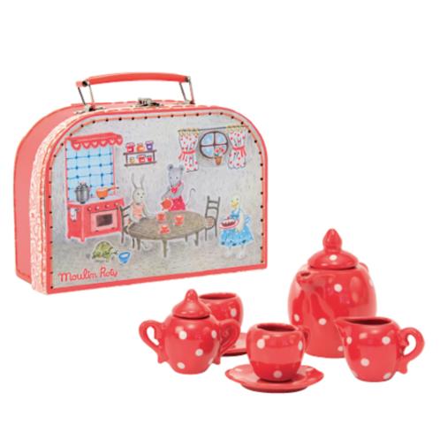 Κόκκινο Κεραμικό Σετ Τσαγιού Ι Παιχνίδια για Παιδιά  Moulin Roty