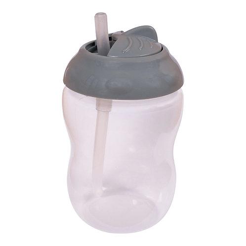 Παιδικό Ποτήρι με Καλαμάκι Dark Grey - Filibabba